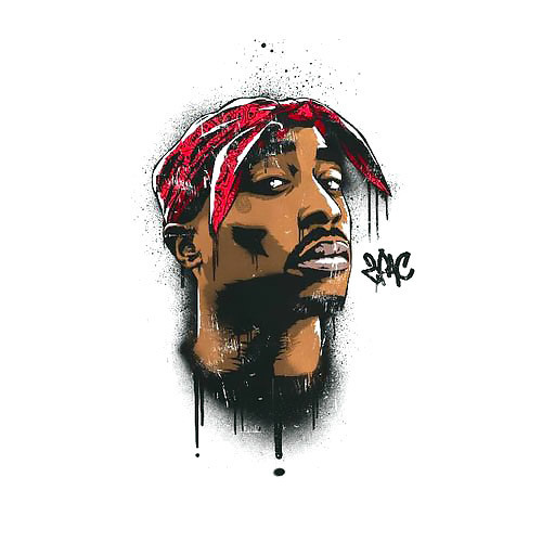 2pac Portrait In Sketch Style Tattoo Design