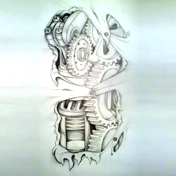 Amazing Biomechanical Tattoo Sketch Tattoo Design