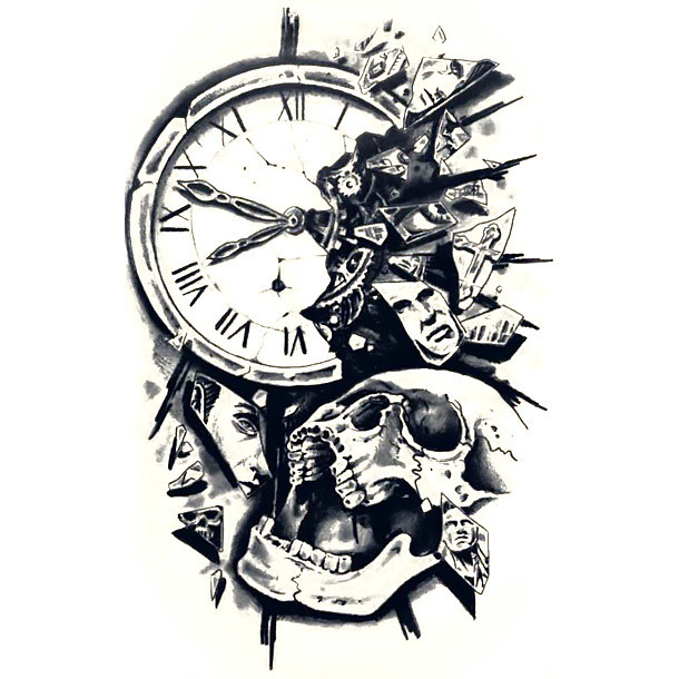 Amazing Skull and Clock Tattoo Design