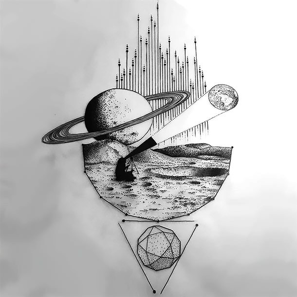 Amazing Space Exploration Tattoo Design