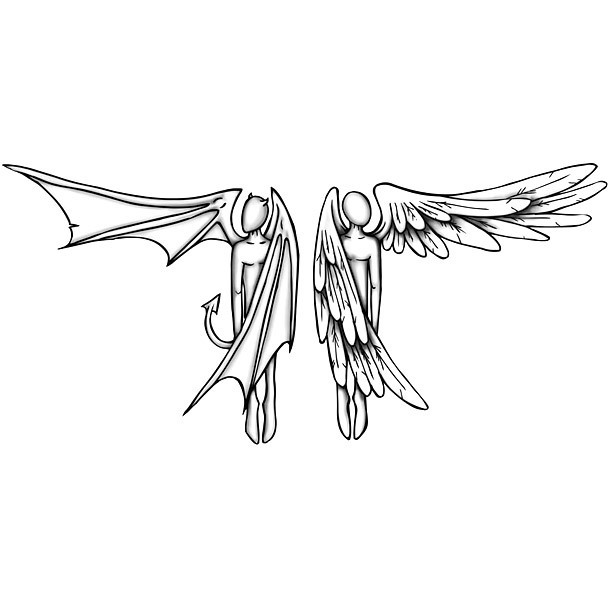 Angel and Demon Tattoo Design
