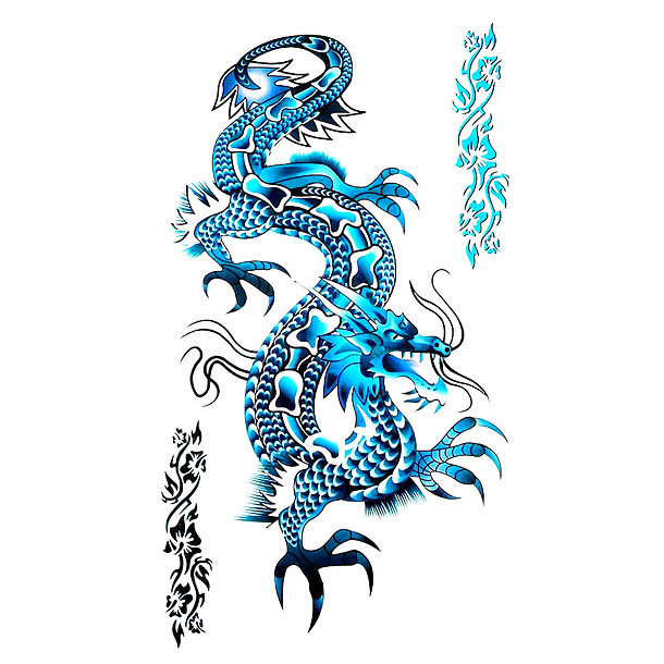 Awesome Blue Chinese Dragon Tattoo Design