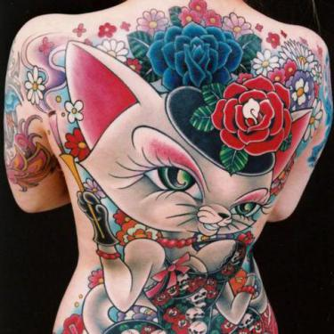 Full Back Feline Tattoo