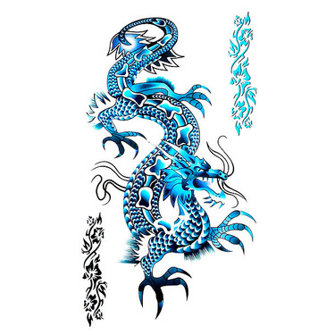 Awesome Blue Chinese Dragon Tattoo