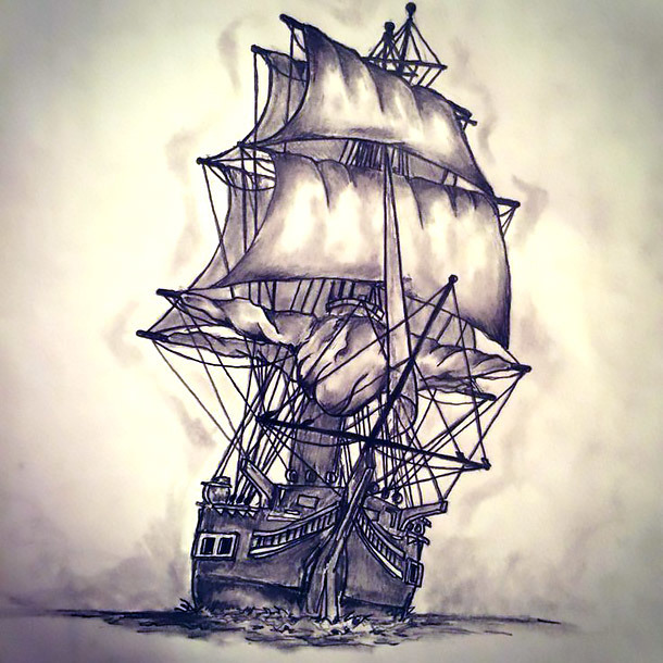Awesome Ship Tattoo Design