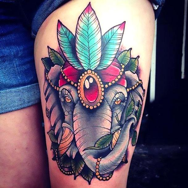 Beautiful Colorful Elephant Thigh Tattoo Idea