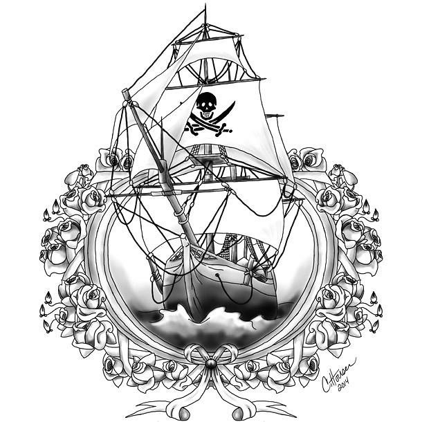 Badass Pirate Ship Tattoo Design
