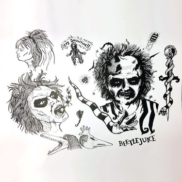 Beetlejuice Tattoo Flash Tattoo