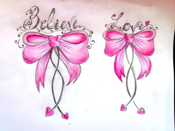 Believe Love Bows Tattoo Design