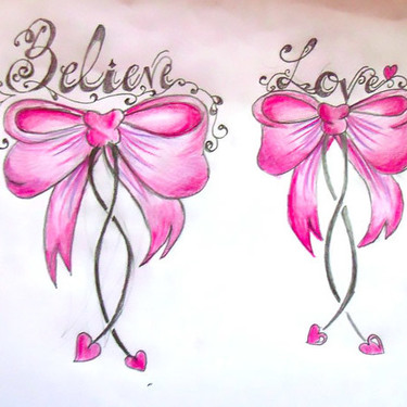 Believe Love Bows Tattoo