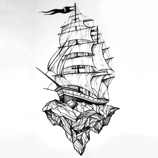 Best Ship on Rock Tattoo Design