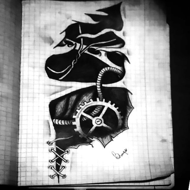 Biomechanical Gear Tattoo Design