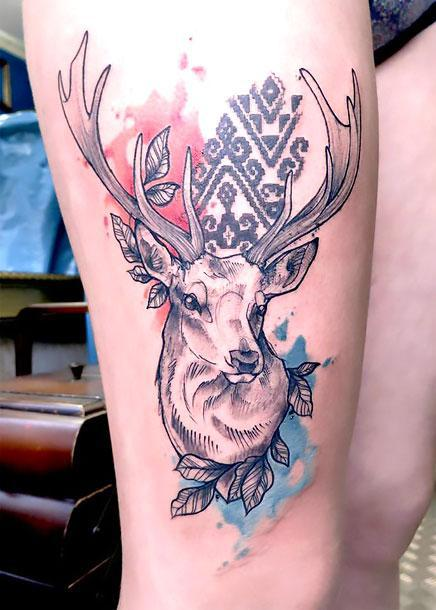 Beautiful Deer Head Tattoo Idea