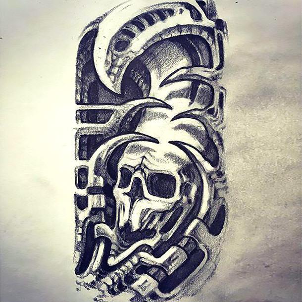 Biomechanical Skull Tattoo Design