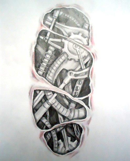 Biomechanical Under Skin Tattoo Design