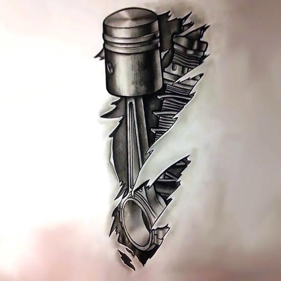 Black and Gray Biomechanical Piston Tattoo Design