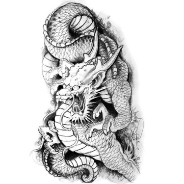 Black and Gray Japanese Dragon Tattoo