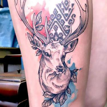 Beautiful Deer Head Tattoo