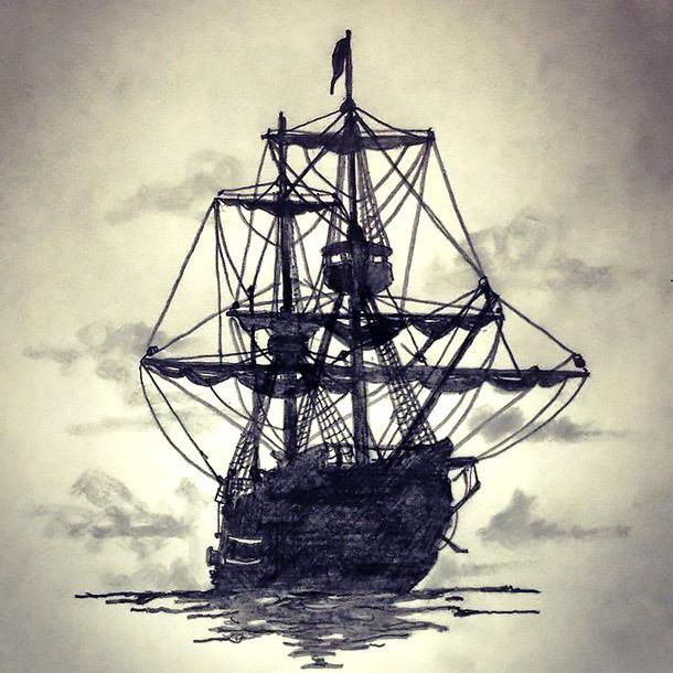 Black Ship Tattoo Design