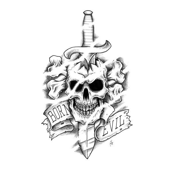 Born Evil Dagger Skull Tattoo Design