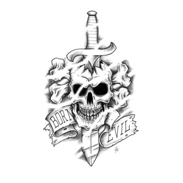 Born Evil Dagger Skull Tattoo