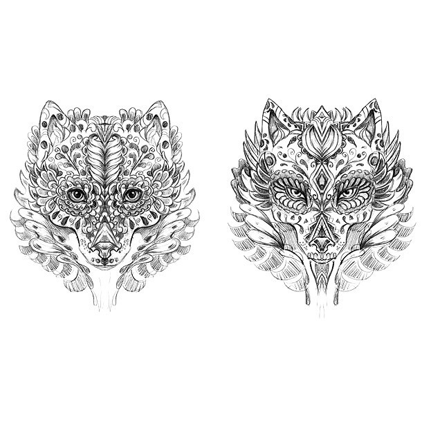 Brother and Sister Wolves Tattoo Design