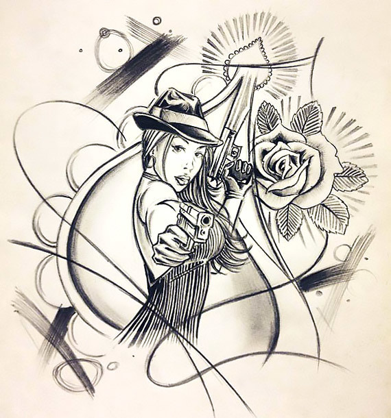 Chicano Style Gangster Woman Tattoo Design