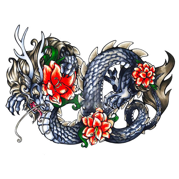 Chinese Dragon With Flowers Tattoo Design
