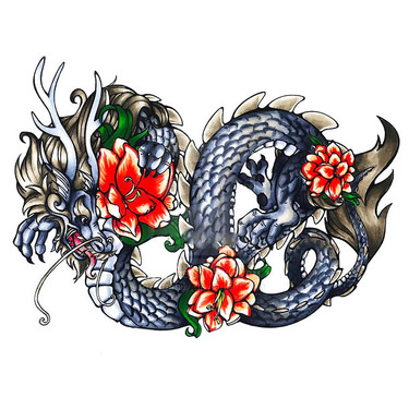 Chinese Dragon With Flowers Tattoo