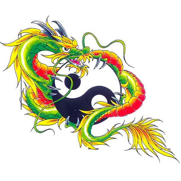Chinese Dragon Yin Yang Tattoo Design