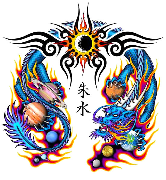 Chinese Tribal Dragon Tattoo Design