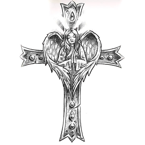 Christian Cross and Angel Tattoo Design