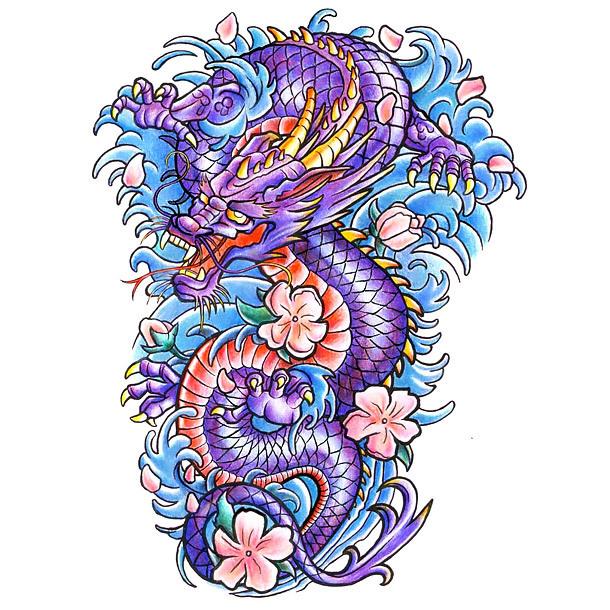 Colorful Japanese Dragon Tattoo Design