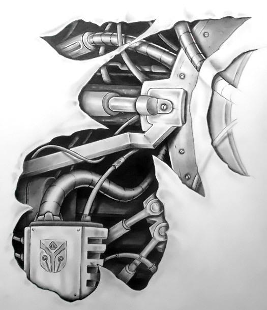 Cool Biomechanical Neck Tattoo Design