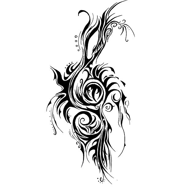 Cool Treble Clef Tattoo Design