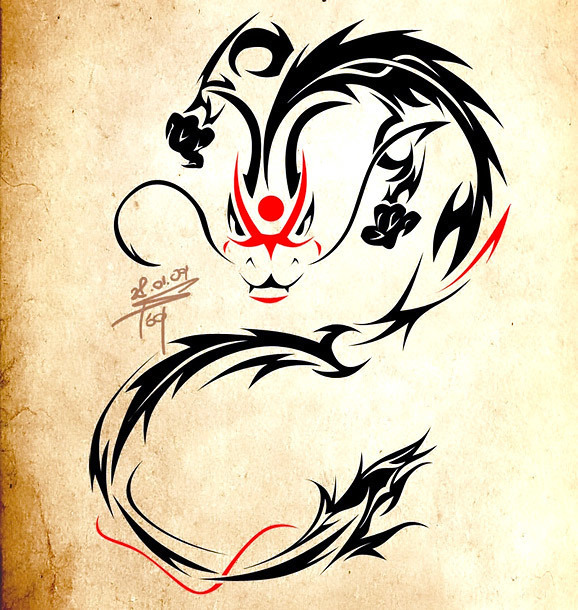 Cool Tribal Chinese Dragon Tattoo Design
