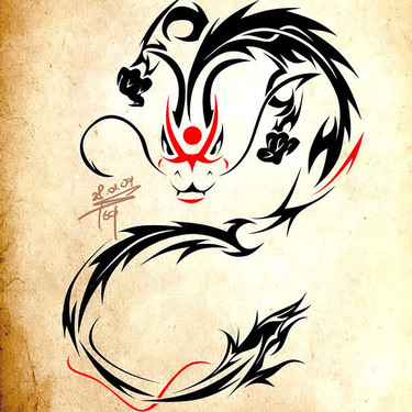 Cool Tribal Chinese Dragon Tattoo