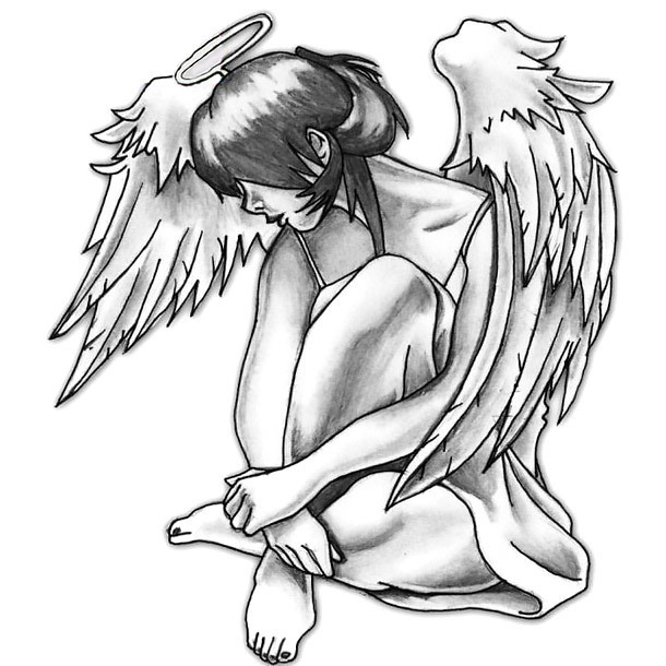 Cute Angel Girl Tattoo Design