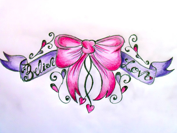 Cute Pink Bow Tattoo Design