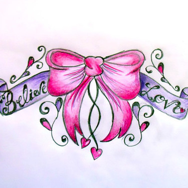 Cute Pink Bow Tattoo
