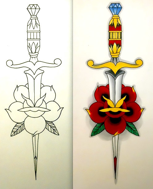 Dagger Outline Tattoo Design