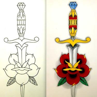 Dagger Outline Tattoo