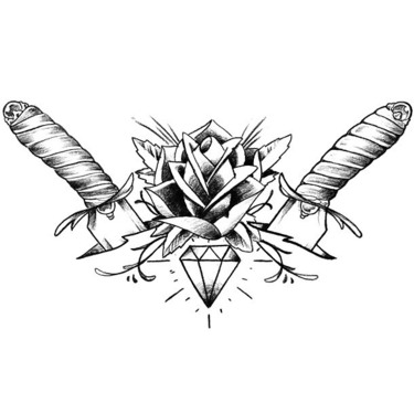 Daggers Diamond Rose Tattoo