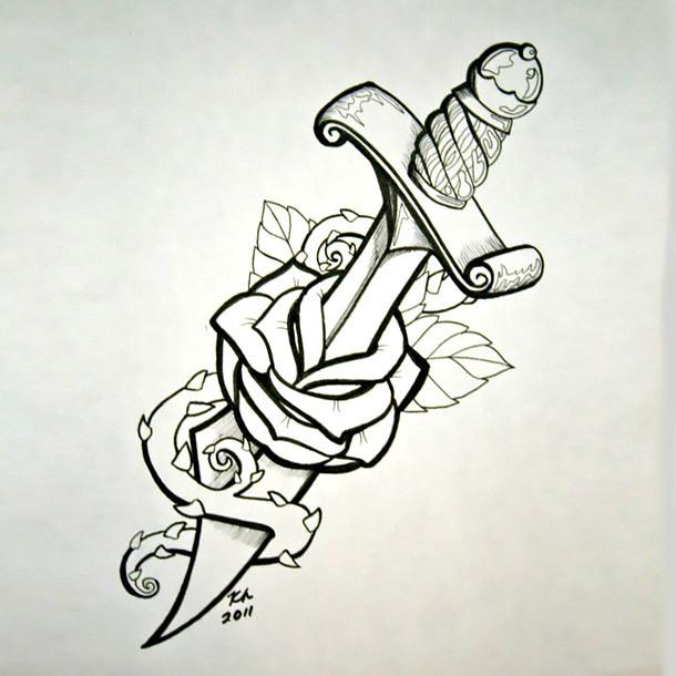 Dagger Through Rose Tattoo Design