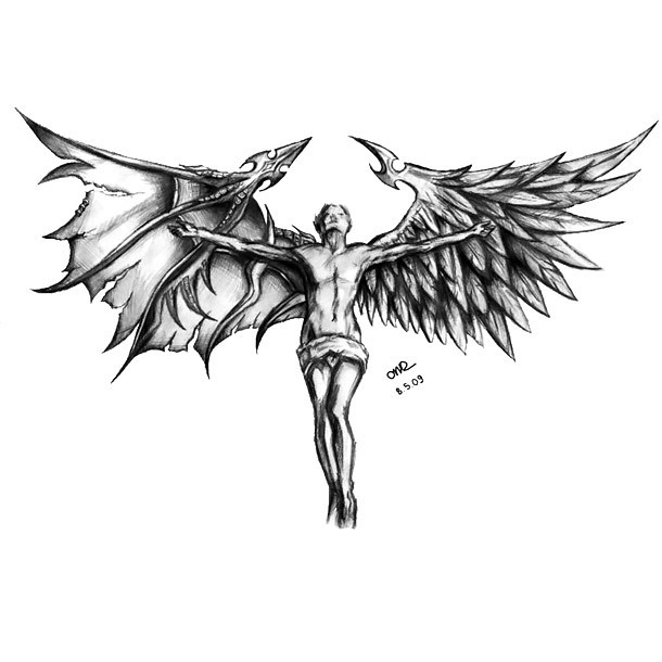 Devil Or Angel Tattoo Design