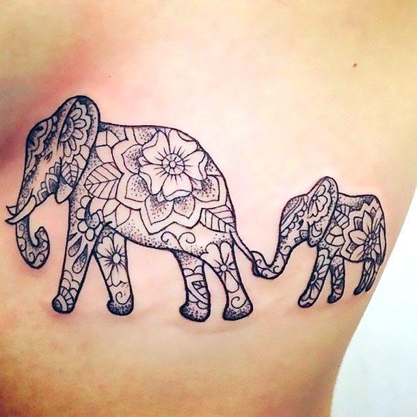 Beautiful Elephant Family Tattoo Idea