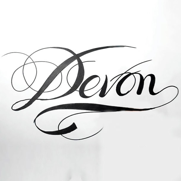 Devon Name Tattoo Design