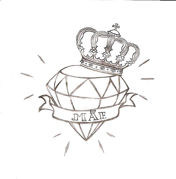 Diamond In Crown Tattoo Design