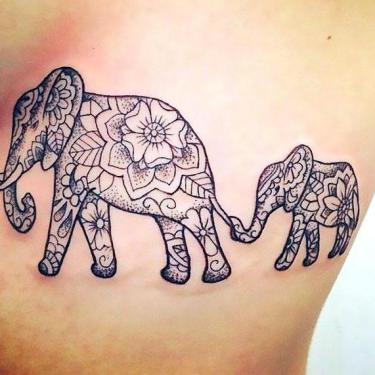 Beautiful Elephant Family Tattoo