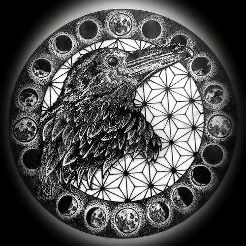 Dotwork Gothic Raven In Moon Cycle Tattoo Design